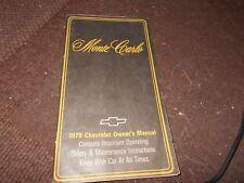 1979 CHEVROLET MONTE CARLO FACTORY ORIGINAL OWNERS MANUAL HANDBOOK