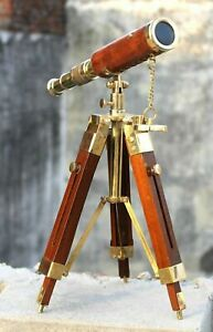 Antique nautical brass leather telescope with wooden tripod stand vintage gift