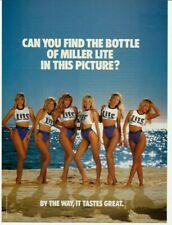1989 Print Ad Miller Lite beer advertisement bikini ladies on beach 80's