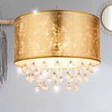 Hänge Leuchte Wohnraum Textil Schirm Kristall Pendel Lampe Gold Decken Strahler