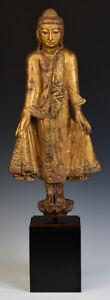 19th Century, Mandalay, Antique Burmese Wooden Standing Buddha
