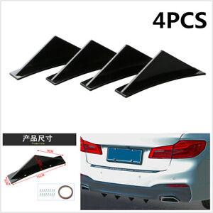 Universal Black 4Pcs Car Rear Bumper Lip Diffuser Shark Fin Curved Type Spoiler
