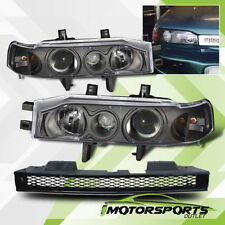 [w/Grille]For 1990 1991 1992 1993 Honda Accord Sedan Projector Black Headlights