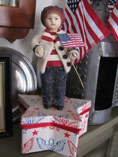 Bethany Lowe Folk Art Patriotic Pledge The Allegance Boy Star Container,Retired