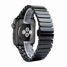 Negro Pulsera De Cerámica Mariposa Correa Reloj Para Apple Series 1 2 & 3 42mm