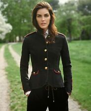 Ralph Lauren Military Denim soutache jacket blazer Black /red 12 New with tag