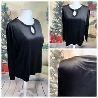 SARA WOMAN Ladies Black Top Size 18/20 Velvet Long Sleeve Stretchy Party Cruise