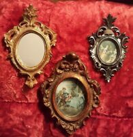 Hollywood Regency 3pc Gold Vintage Ornate frames & mirror Italy gesso Rococo