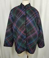 Vintage Toni Woods New York Mandarin Style Quilted Art To Wear Jacket Womens XL