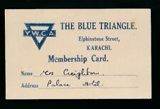 India YWCA The Blue Triangle Membership Card Karachi 1948 CREASE