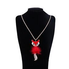 Hot Fox Pendant Rhinestone Inlaid Fur Necklace Long Sweater Chain Women Jewelry