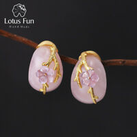 Natural Rose Quartz Stone Plum blossom Flower 925 Silver Stud Earrings for Women