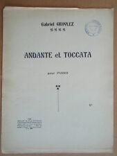 """PARTITION """" ANDANTE et TOCCATA """" POUR PIANO. G. GROVLEZ"""