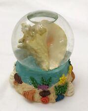 "Conch Seashell Snowglobe Vintage Glass Shell Snowdome Beach Seashore 3.5"""