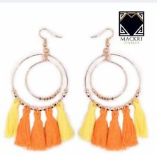 MACKRI 2-Layer Ring Korean Bohemian Hook Tassel Drop Earrings ORANGE