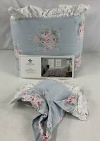 Simply Shabby Chic Twin Misty Blue Comforter Sham Set Ruffle Floral New Cottage