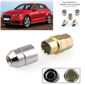 M12x1.5 Chrome Cone Seat 4 Locks 1 Key Set Anti-theft Wheel Lug Nuts Accessories