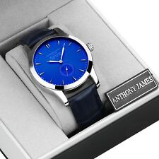 LIMITED RUN! ANTHONY JAMES BLUE LEATHER DESIGNER MENS SMART DRESS WRIST WATCH