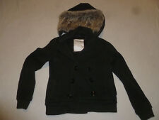 AMERICAN EAGLE BLACK FLEECE HOODED JACKET W FURR HOOD SIZE MEDIUM BUTTON UP COAT