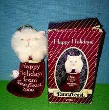 Happy Holidays Fancy Feast 2000 White Cat Blue Eyes Stocking Christmas Ornament