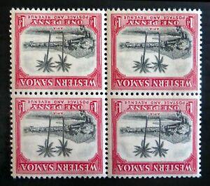 WESTERN SAMOA 1935 - 1d Inverted/WMK Error SG181w Block of 4 U/M SALE NP86
