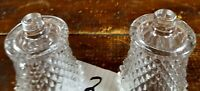 Votive Cups Set of 2 Homco Home Interior Crystal Clear Glass Diamond Cut