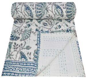 Queen Cotton Kantha Quilt Floral Print Indian Handmade Blanket Bedspread Throw