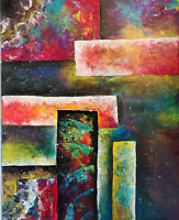 SPIRITUAL ABSTRACT PAINTING ACRYLIC 16x20  7 CHAKRAS PAINTING