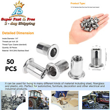 50 Rivet Nuts Stainless Steel Threaded Insert Nut 14 20 Flat Head Nutsert Unc