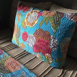 Hand Stitched Indian Kantha Standard Pillow Sham.