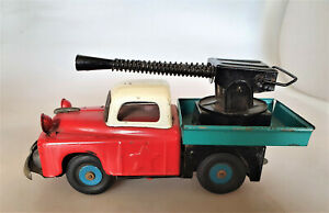 seltener Japan LKW Pritsche mit Kanone und Friktion Blech Blechspielzeug