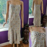 PER UNA Women Fit & Flare Linen Dress Size 14 Strappy White/Brown Polka Dot M&S