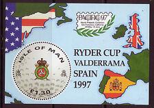 Isla De Man 1997 Golf Ryder Cup Miniatura Hoja Menta desmontado, Mnh