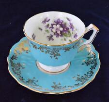 60s AYNSLEY Bone China England Blue Gold Scrolls VIOLETS #2917 Set Cup & Saucer