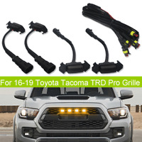 Front Grille Amber Lighting For 16-up Toyota Tacoma w/TRD Pro Grill Smoked Lens