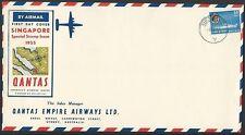 SINGAPORE 1955 50c Ship on large Qantas commem FDC.........................49795