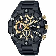 Casio Edifice Quartz Black Dial IP Plated Bracelet Chrono Mens Watch RRP £350