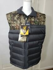 BROWNING A-TACS CAMO BLACK GOOSE DOWN VEST REGULAR FIT SIZE MEDIUM NWT