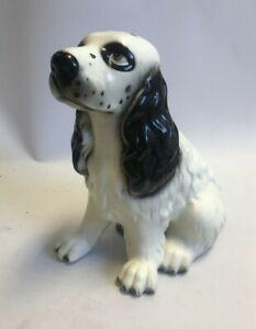 "Vintage Sitting Cocker Spaniel Dog Ornament Ceramic White and Black Dog 12"" Tall"