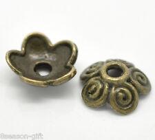 100 Bronze Tone Flower Bead Caps Findings 10x4mm