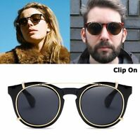 Round Sunglasses Clip On Steampunk Style Removable Lenses Design Vintage Fashion