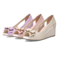 Womens Peep Toe Shoes Synthetic Leather Wedge Heels Bowknot Sandals US Size S335