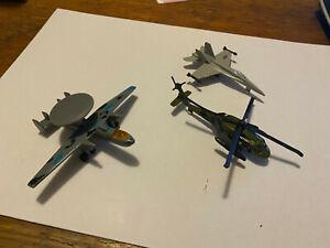 Three diecast US Military aircraft Blackhawk helicopter F/A-18 Hornett AWACS
