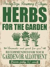15x20cm Herbs for the Garden metal advertising sign wall plaque