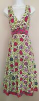 Womens Anokhi For East Green Pink Floral Indian Cotton Boho Ethnic Midi Dress 14