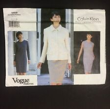 Calvin Klein Vogue Sewing Pattern Uncut FF 1868 Jacket Dress Size 12 14 16 1996
