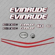 Evinrude 40 hp ETEC outboard engine decals sticker set reproduction Blue Cowl