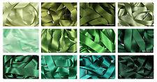 Double Satin Ribbon Berisfords Green Shades 8 Widths Short Lengths or Full Reel
