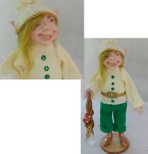 Elf OOAK Fairy Handmade Sculpture Holiday Decor Figure Woodland Winter Christmas