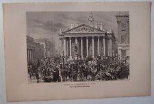 gravure sur bois dessin Durand : Londres, London vue prise devant banque 1879